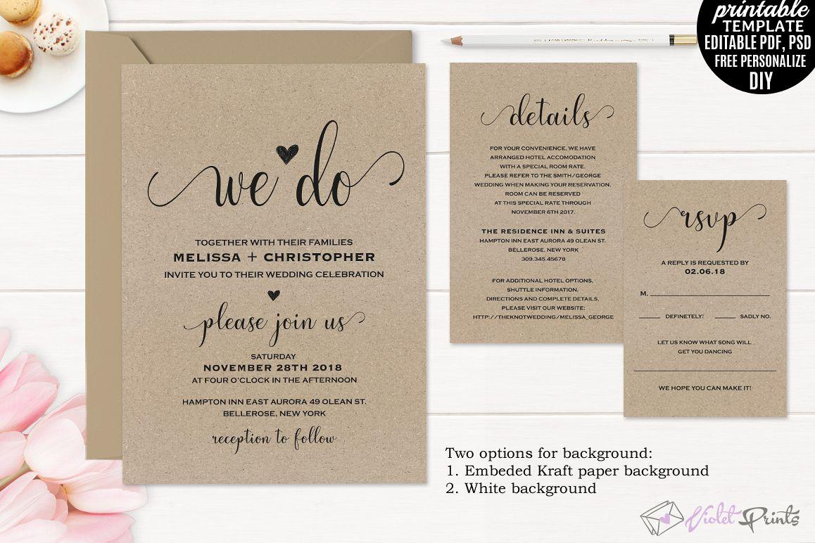 Charming Kraft Paper Wedding Invitation Set Template Example Image