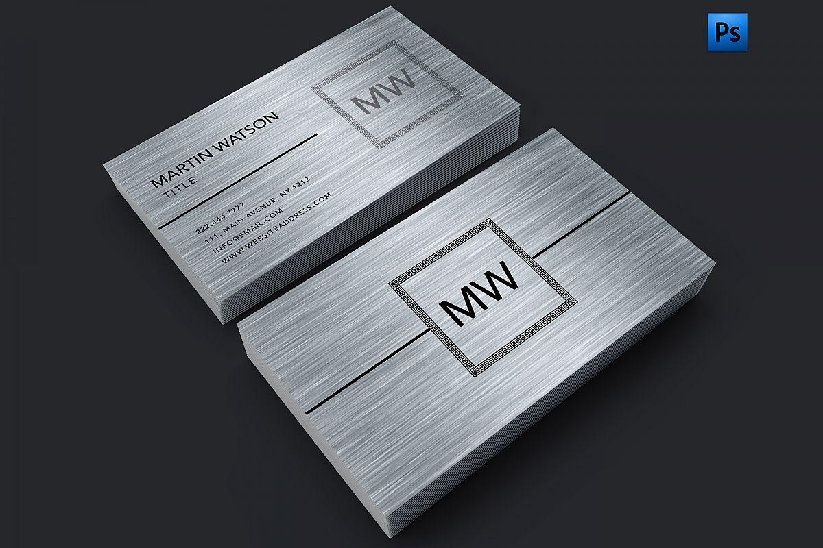 Brush metal finish silver business card | Design Bundles