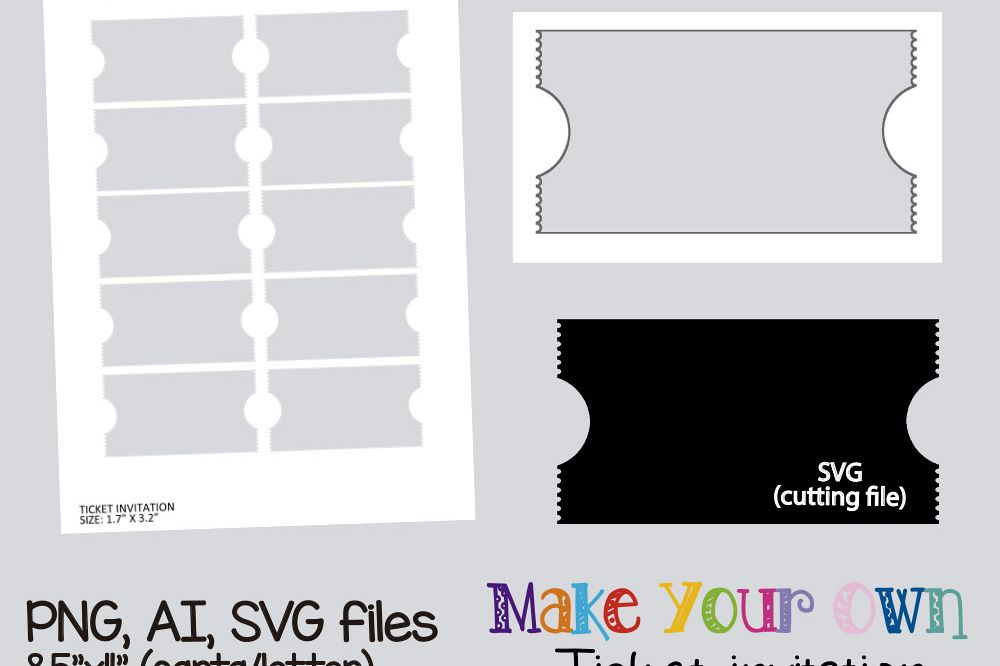 Ticket Invitation Template Collage She  Design Bundles
