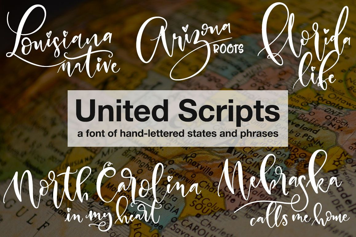 United Scripts: a font of states! example image