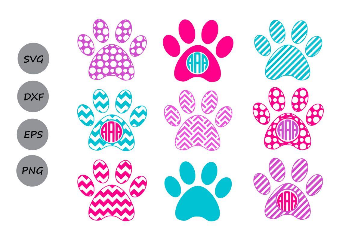 Paw Print SVG, Paw Print Monogram, Dog   Design Bundles