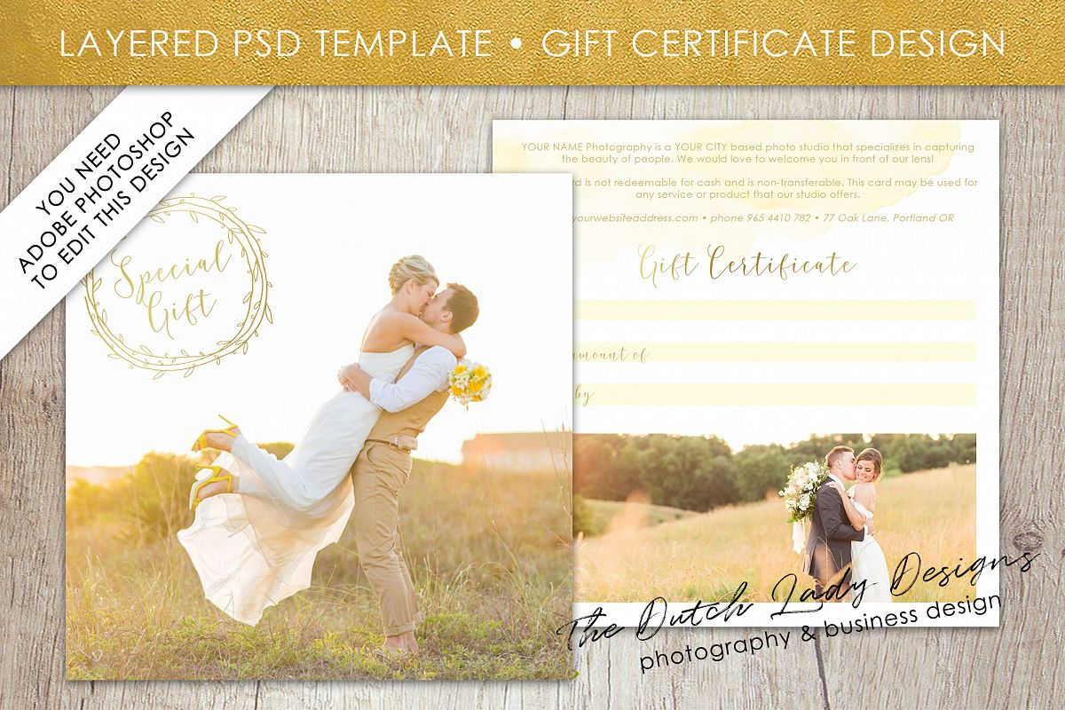 Gift Certificate Card Template Front And Back 5x5 300 Dpi Psd