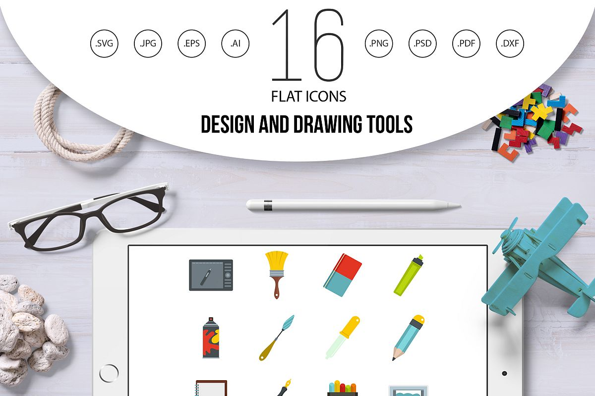drawing tools. Design And Drawing Tools Icons Set In Flat Style Example Image