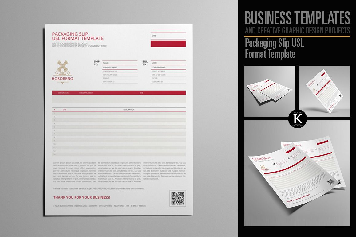 Packaging Slip USL Format Template by K | Design Bundles