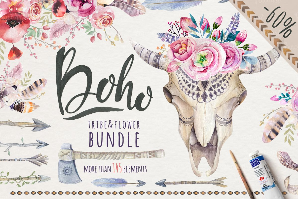 Tribe & Flower boho bundle example image