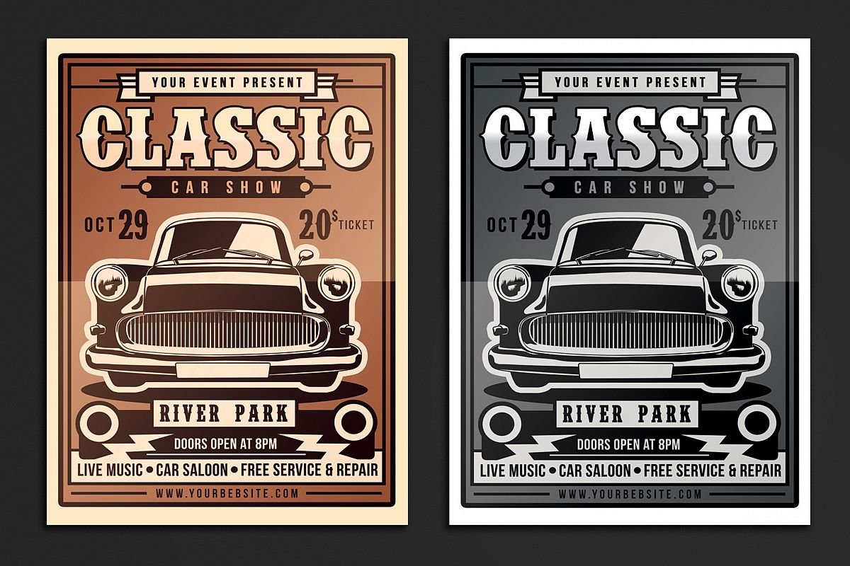 Classic Car Show Flyer Example Image