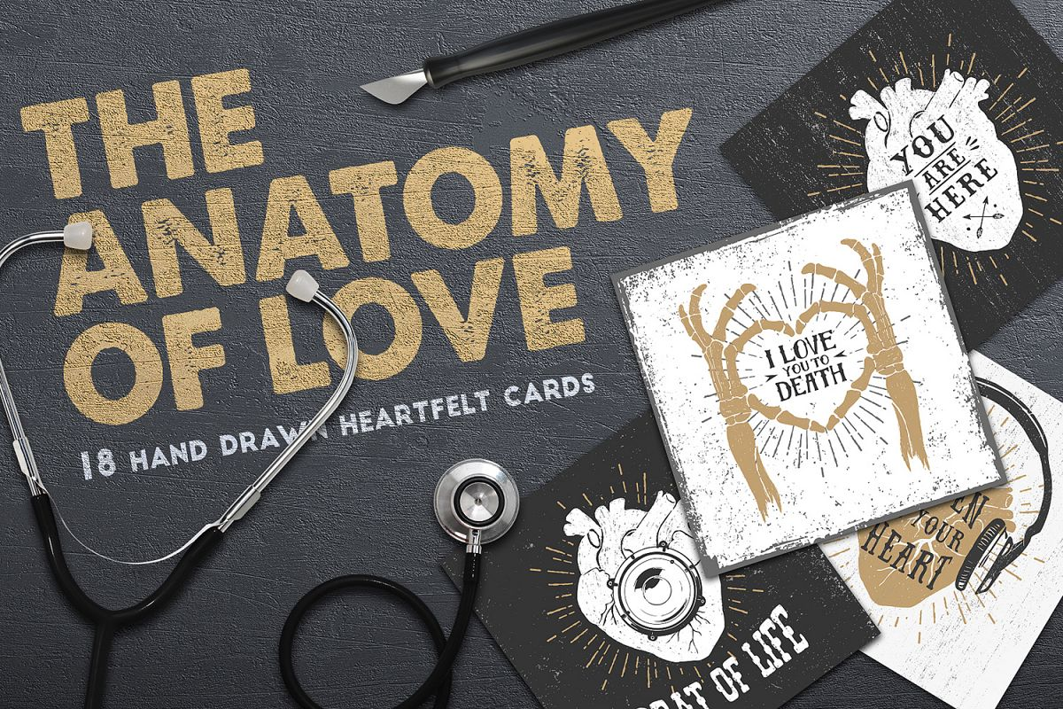 Anatomy of Love (Collection of Cards + | Design Bundles