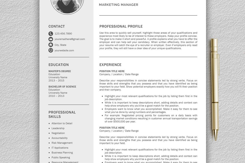 Creative Resume Template, CV Template, Resume Template For Word With Cover  Letter Example Image  Concise Resume Template