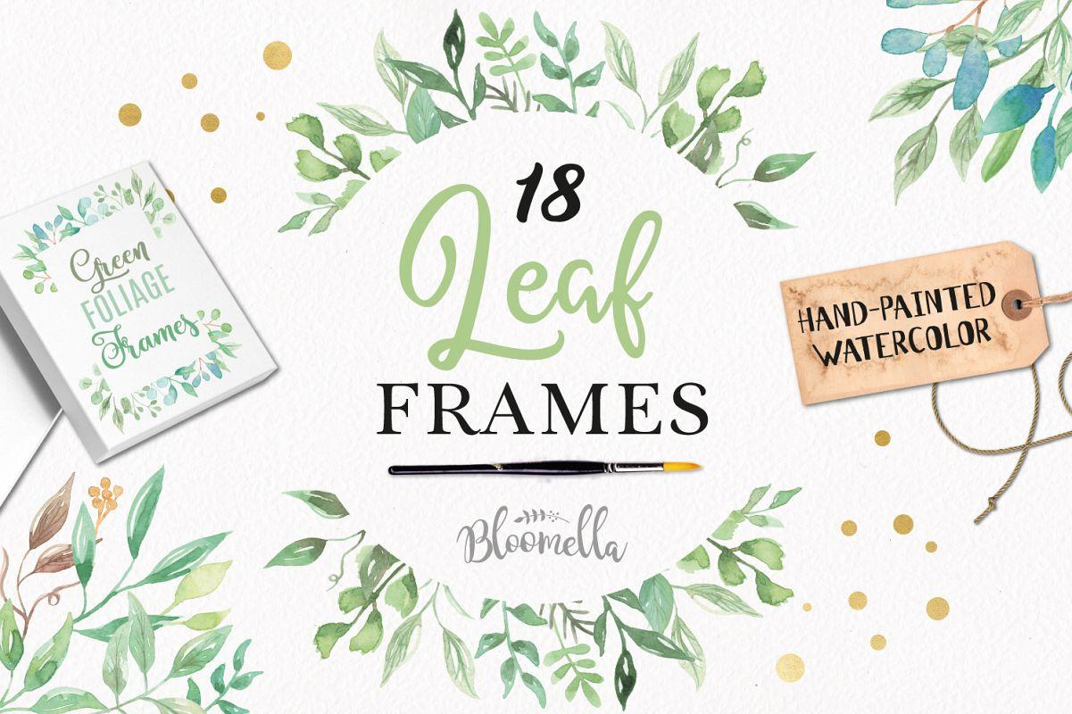 Watercolor Leaf Frames Green Leaf Clipa | Design Bundles