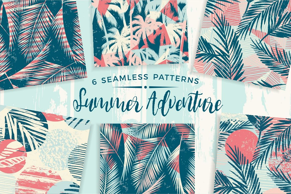 Summer Adventure. 6 seamless pattern example image