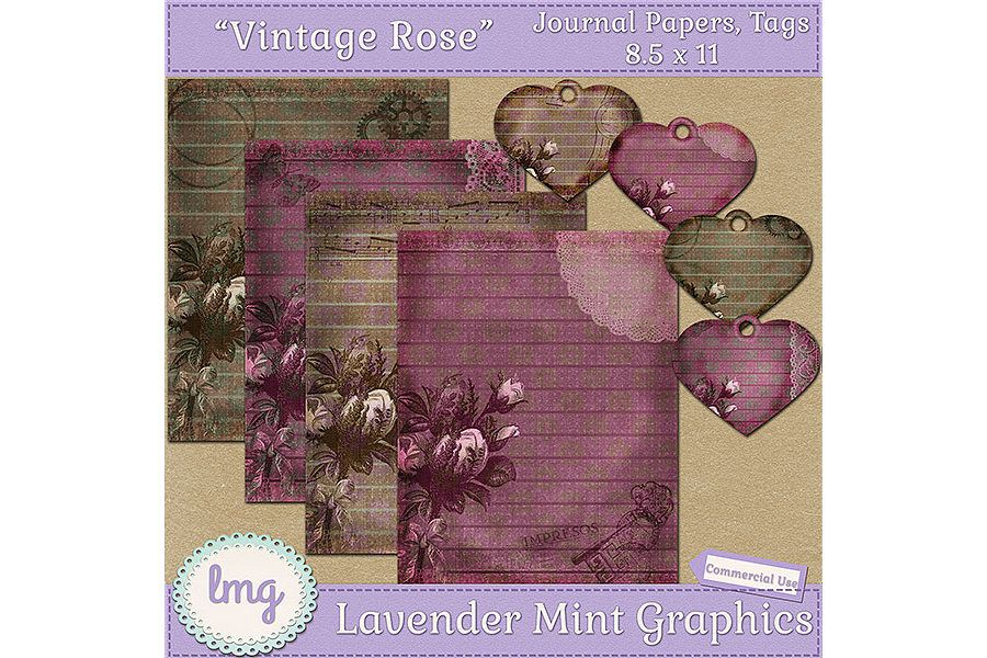 Vintage Rose Junk Journal Scrapbook Paper example image