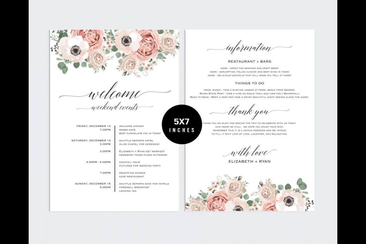 Wedding Itinerary Template PCC_5 by Pri | Design Bundles