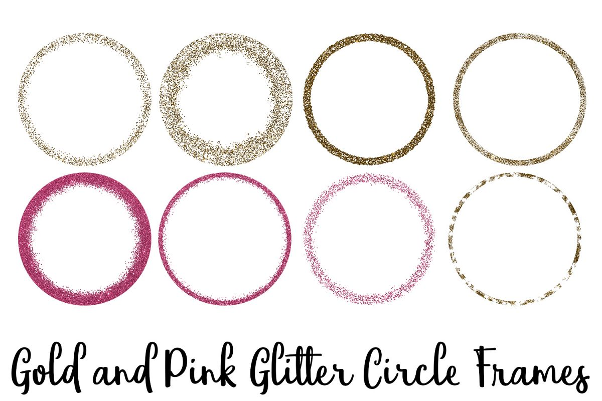 Gold and Pink Glitter Circle Frames Cli | Design Bundles