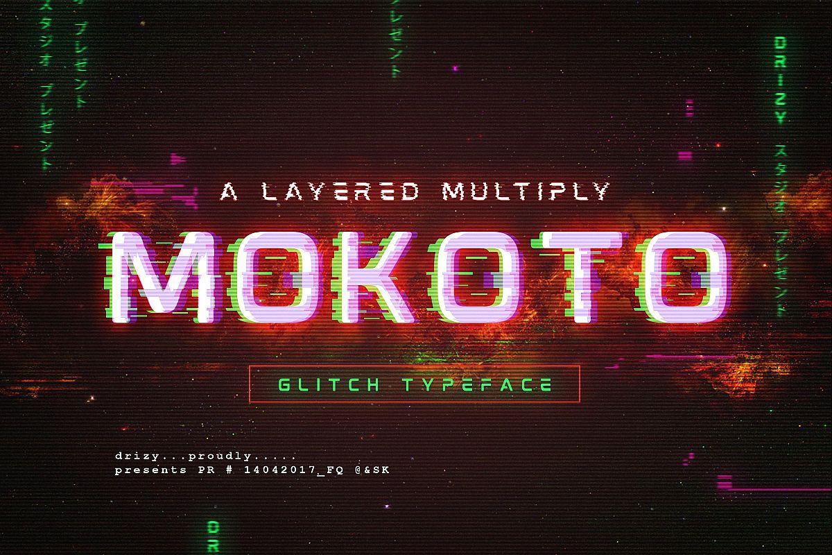 Mokoto Glitch Typeface example image