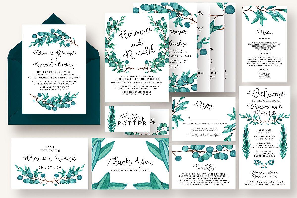 Eucalyptus Wedding Suite Vol.4 by Knott | Design Bundles