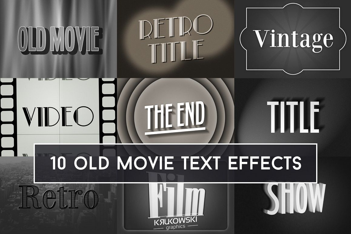 Old Movie Title Text Effect Mockup by K | Design Bundles