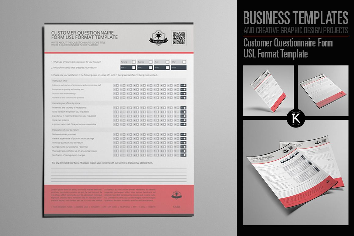 Customer Questionnaire Form USL Format | Design Bundles