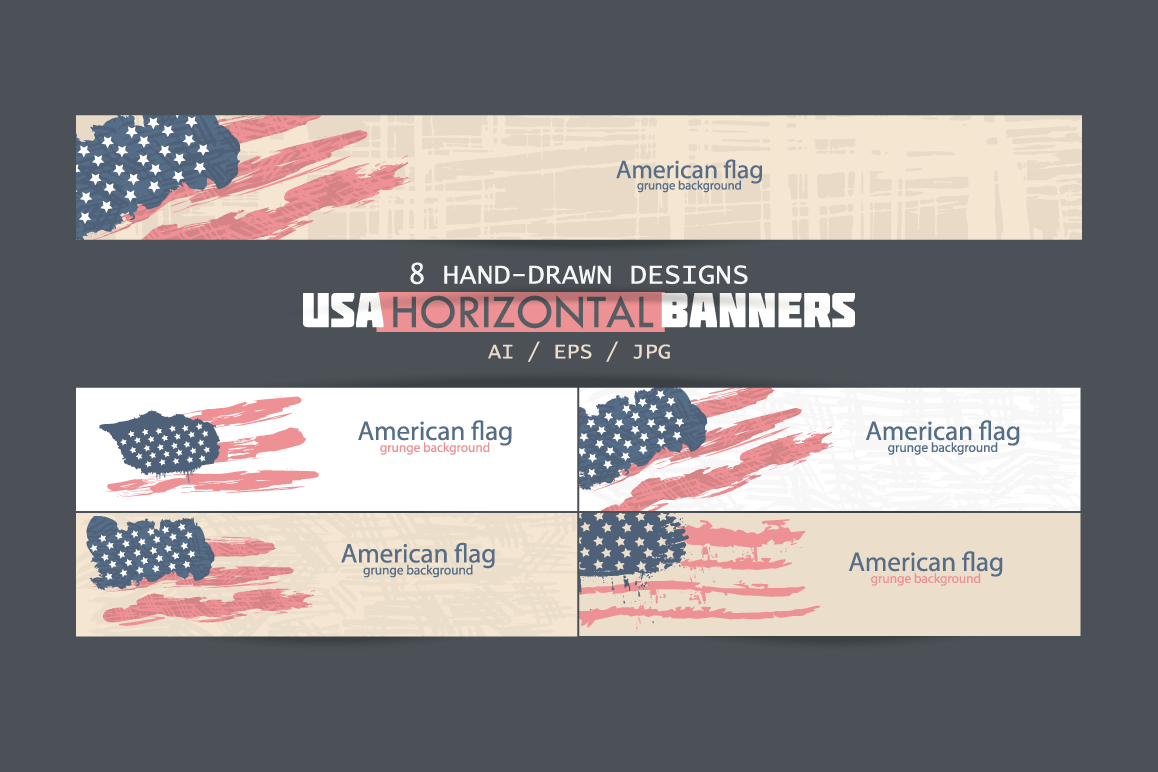 USA horizontal banners/American Flag/US | Design Bundles