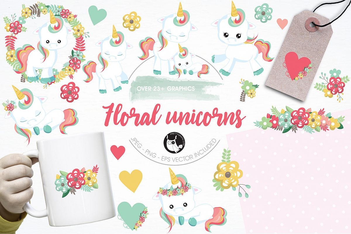Floral unicorn graphics and illustrations example image