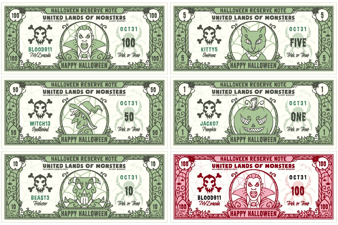 Halloween Money Banknotes Vector Set example image
