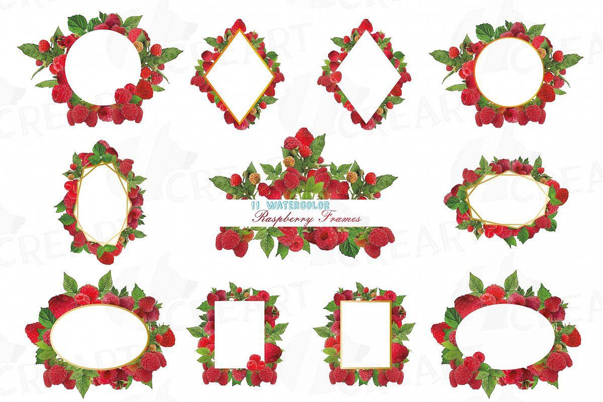 Raspberry frames watercolor clip art pa | Design Bundles