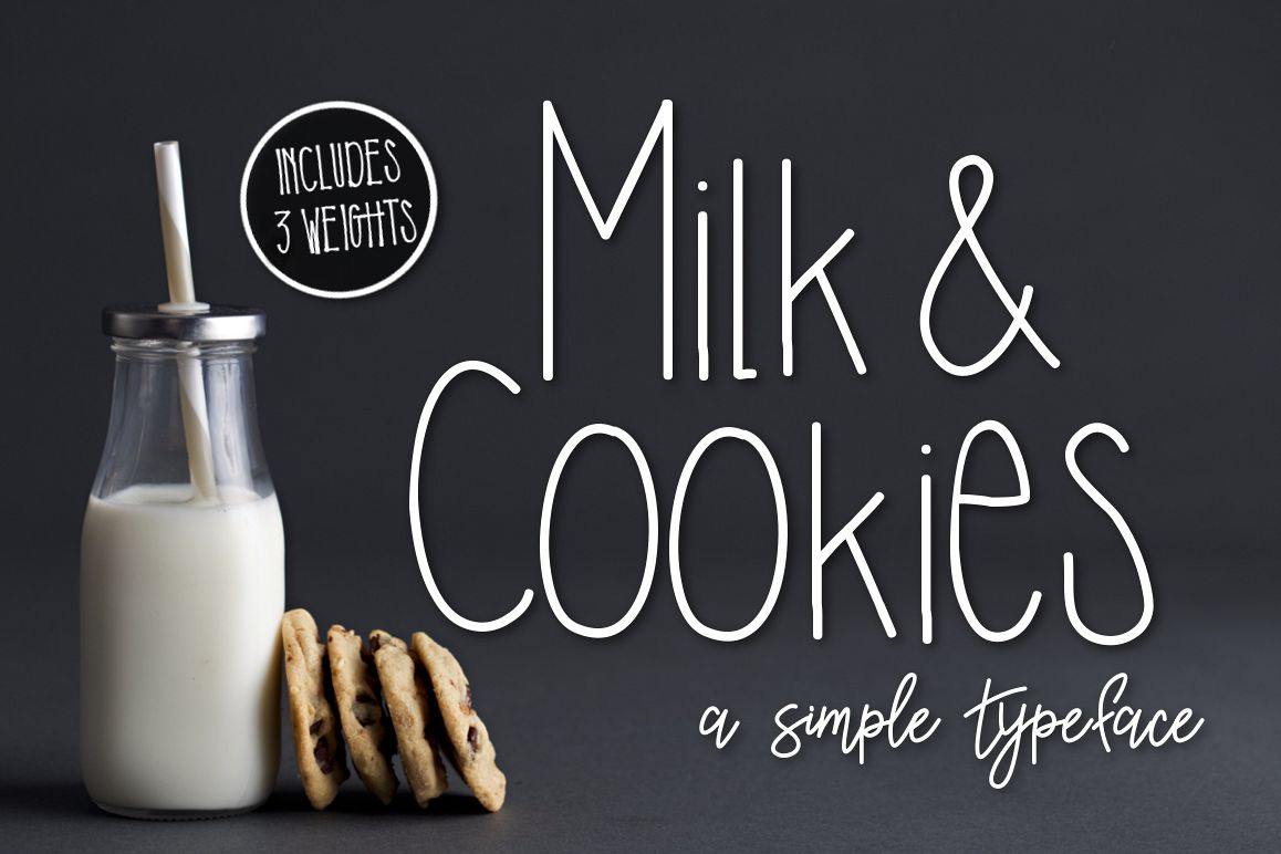 Milk & Cookies a Simple Typeface example image