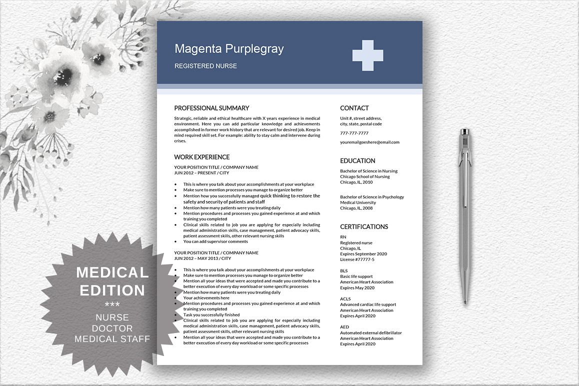 Medical resume template by documentfold design bundles medical resume template example image toneelgroepblik