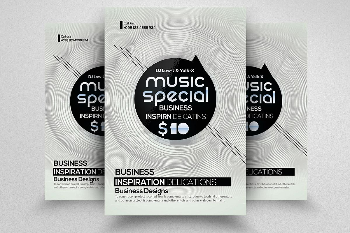 Retro Electro Flyer Template by Designh | Design Bundles