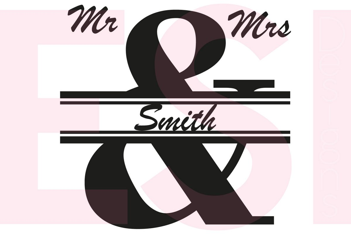 Mr & Mrs Split Ampersand Monogram Design example image