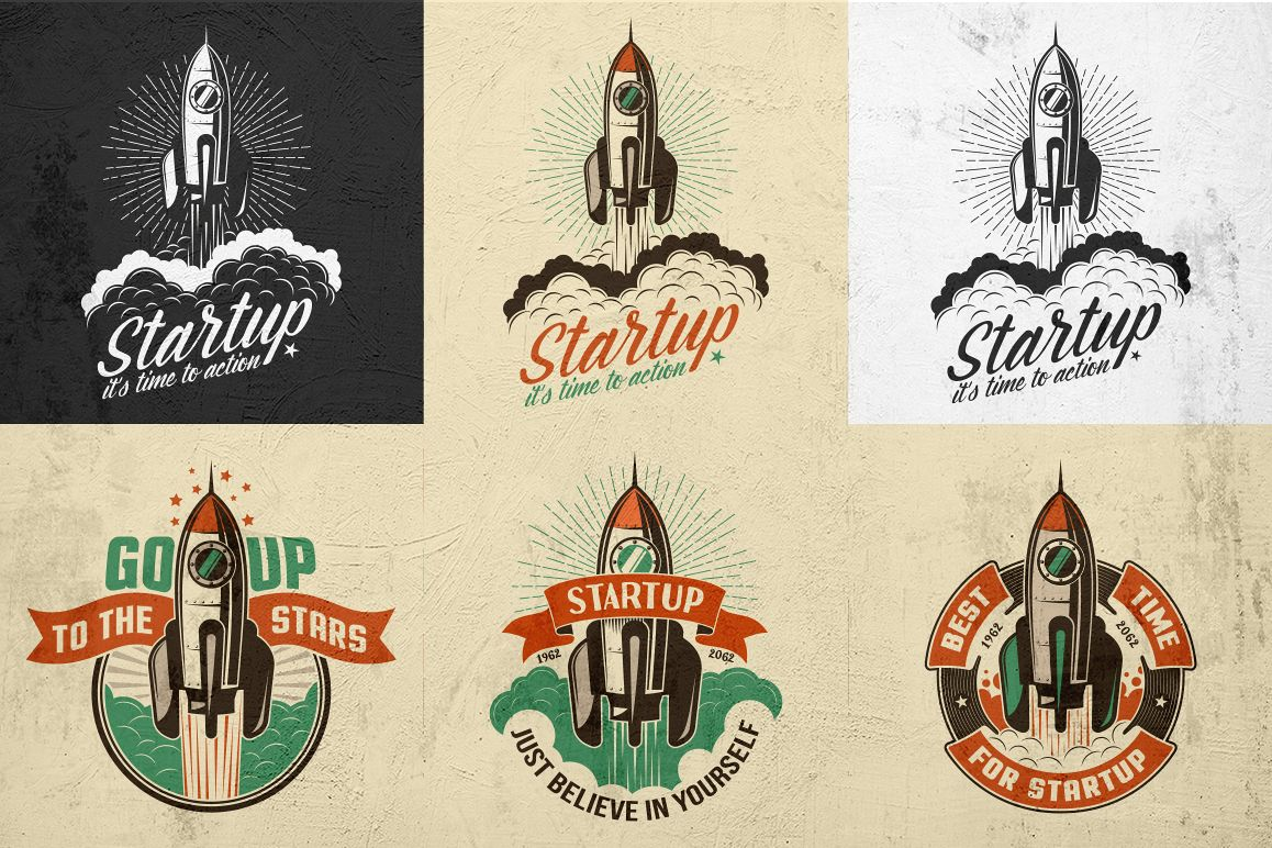 Startup Rocket Retro Logo example image 4