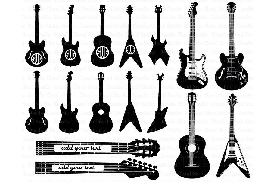 Guitar SVG Monogram Svg Files For Silhouette Cameo And Cricut Electric