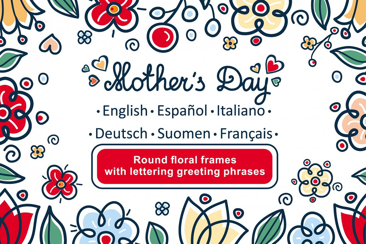 Greeting cards for mothers day in diff design bundles greeting cards for mothers day in different languages english german finnish spanish m4hsunfo