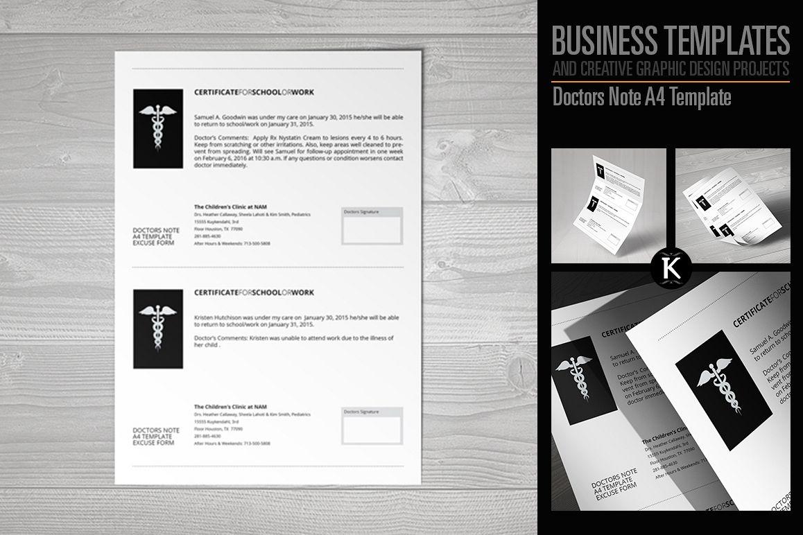 Doctors Note A4 Template by Keboto | Design Bundles