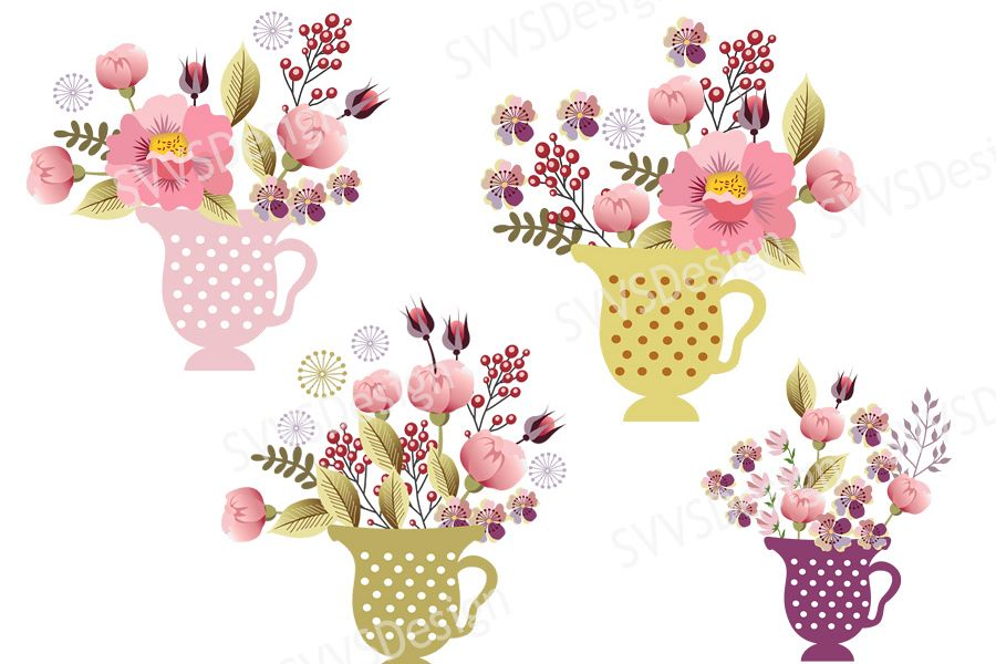 Bouquet In The Tea Cup Bundle Birthday Wedding Party Decorations Clipart Vector SVG