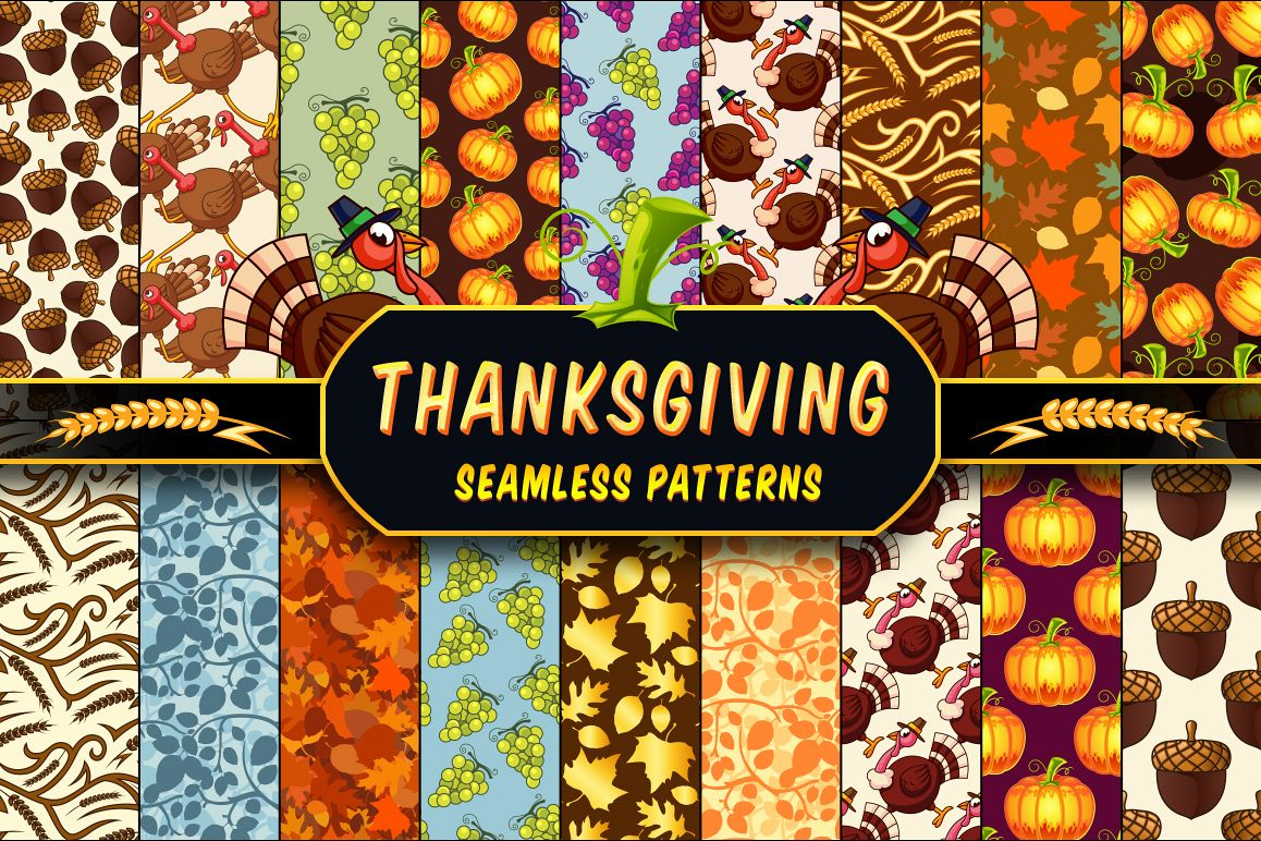Thanksgiving Seamless Patterns Set by pixaroma in Graphics Patterns example image