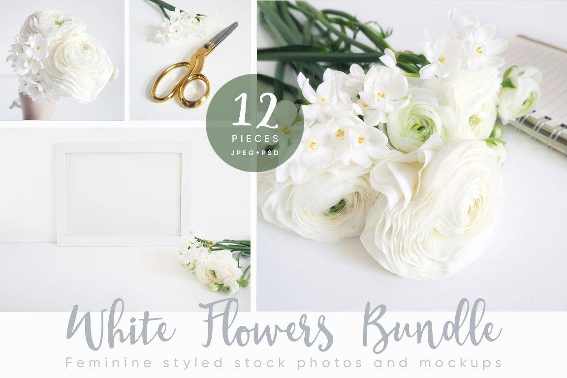 The White Flowers mock ups & photos bundle example image