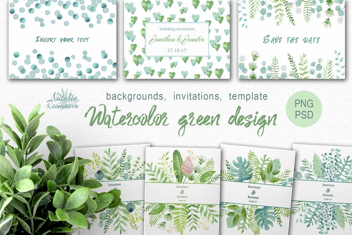 Watercolor green design example image