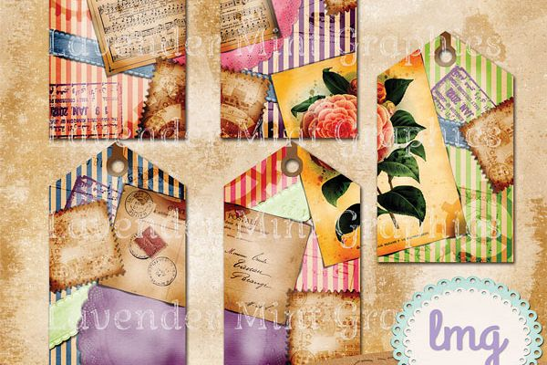 Vintage Stripe Scrapbook Journal Tags example image