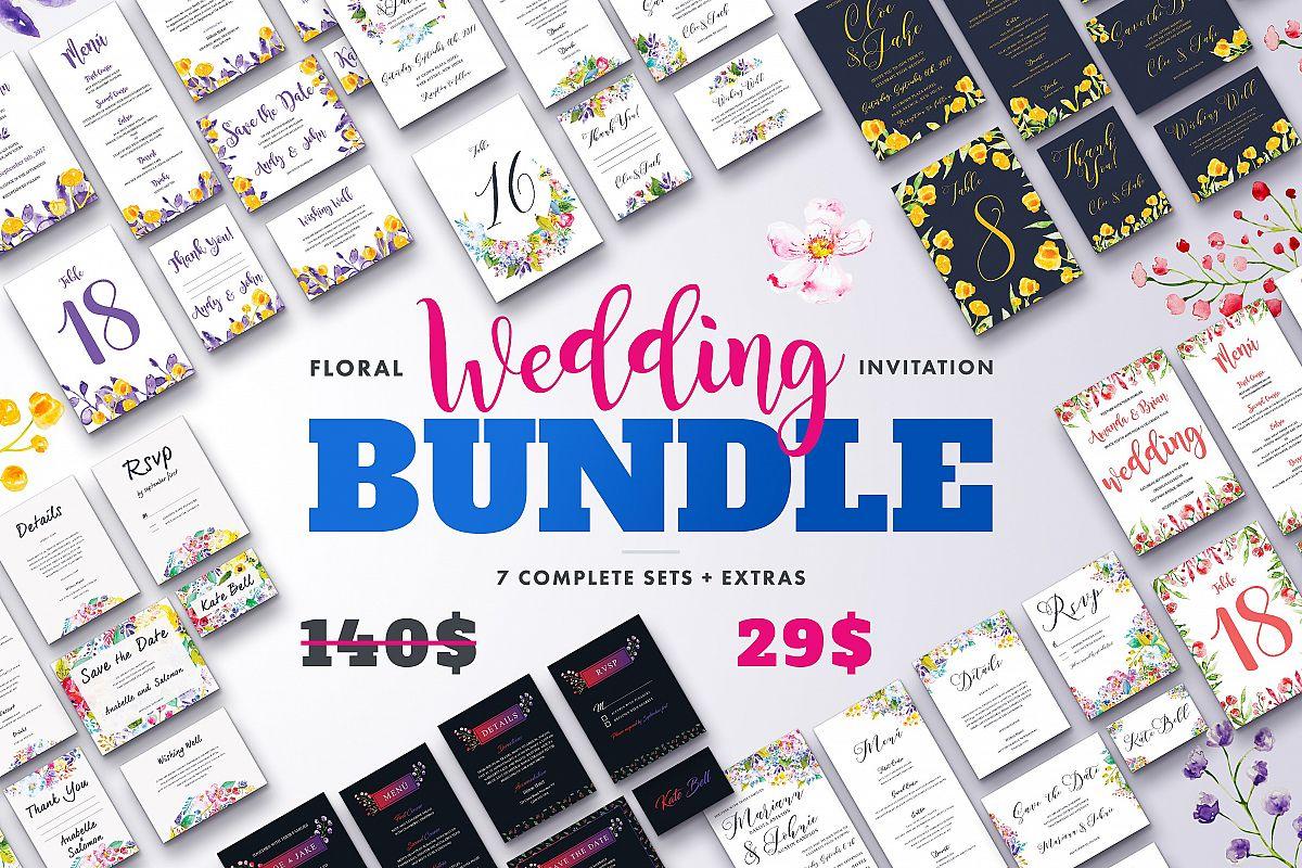 Floral Wedding Invitation Bundle by Lov Design Bundles