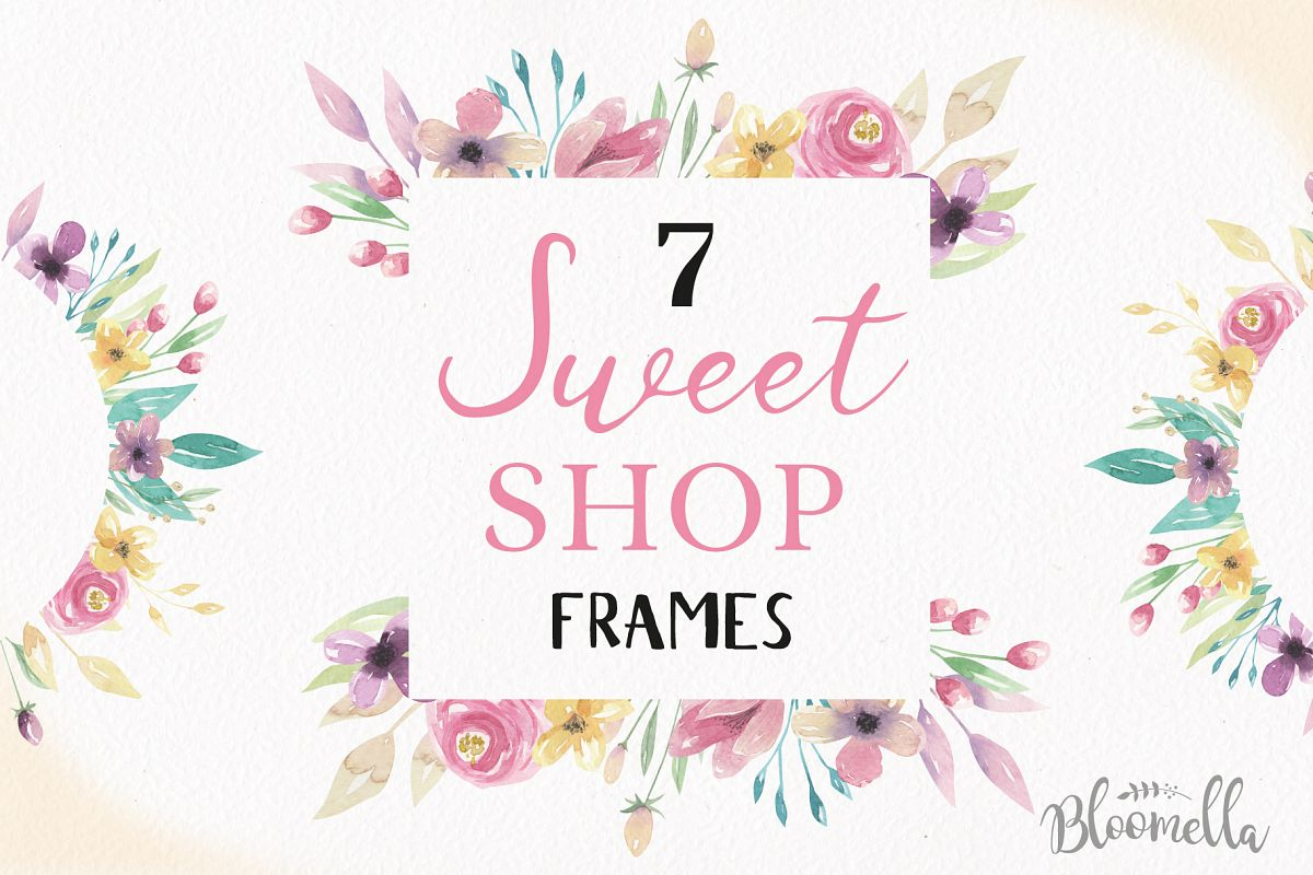 Sweet Shop Frames Watercolor Purple Pre | Design Bundles