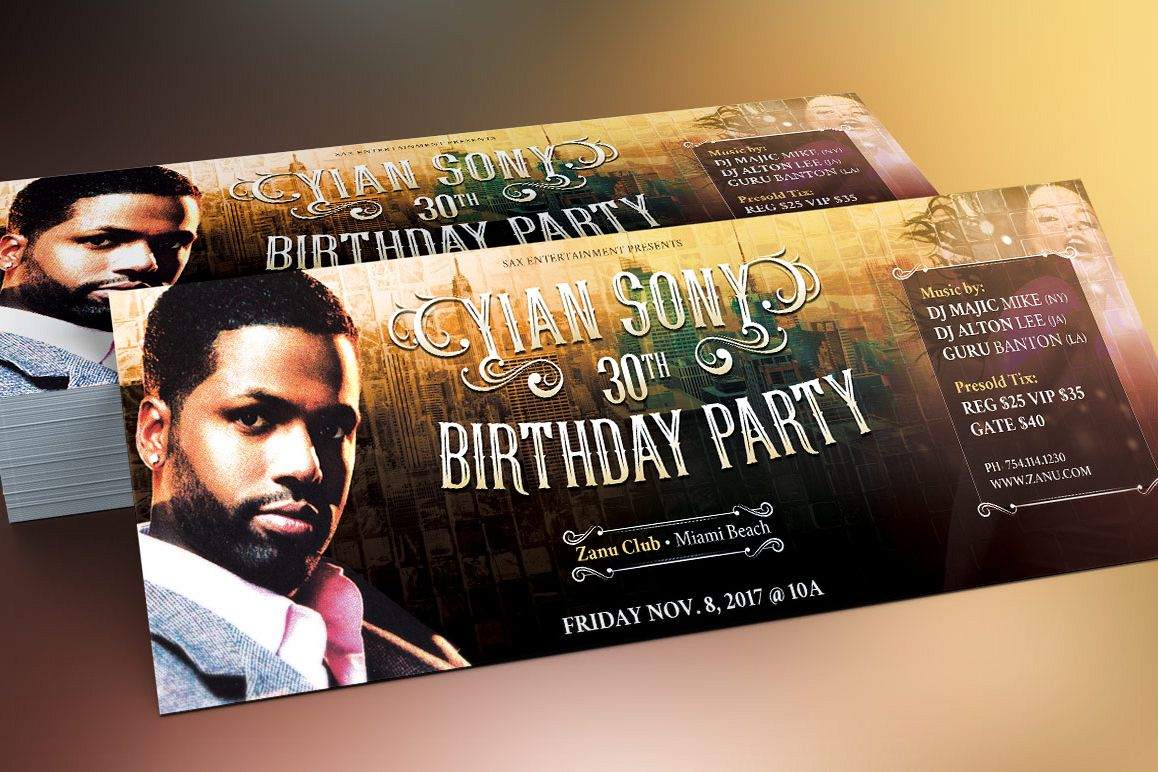 Hipster Birthday Party Flyer Template b | Design Bundles