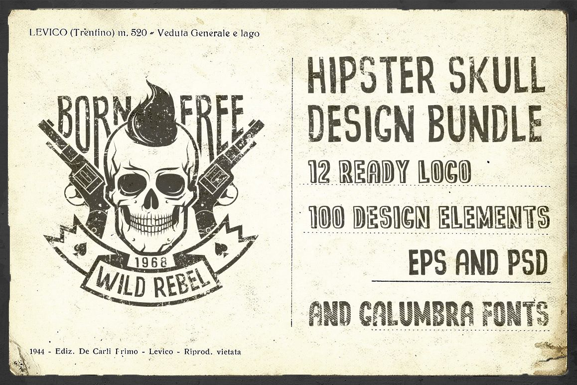 Hipster Skull Design Bundle example image