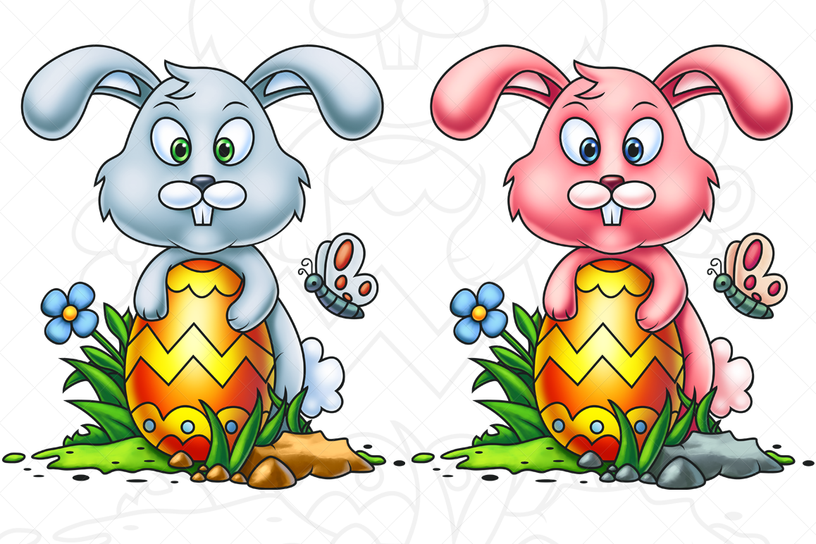 Cute Little Easter Bunny - Digital Painting example image