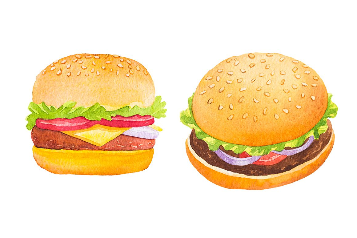 Fast Food Watercolor Set example image 6