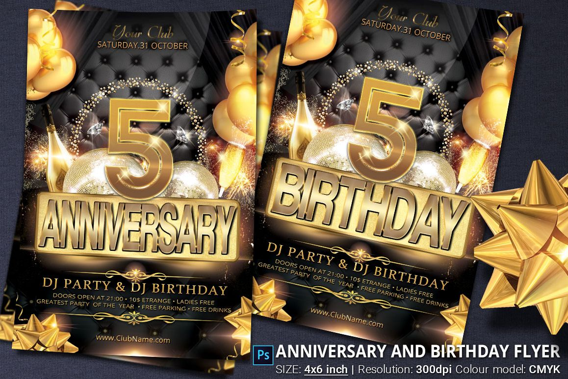 Anniversary And Birthday Party Flyer by | Design Bundles