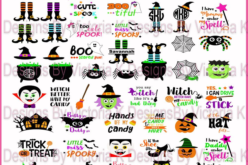 Halloween Bundle, Pumpkins, Witches, Ghosts, Spooky,  SVG, DXF, EPS Files, Cricut Design Space, Vinyl Cut Files example image