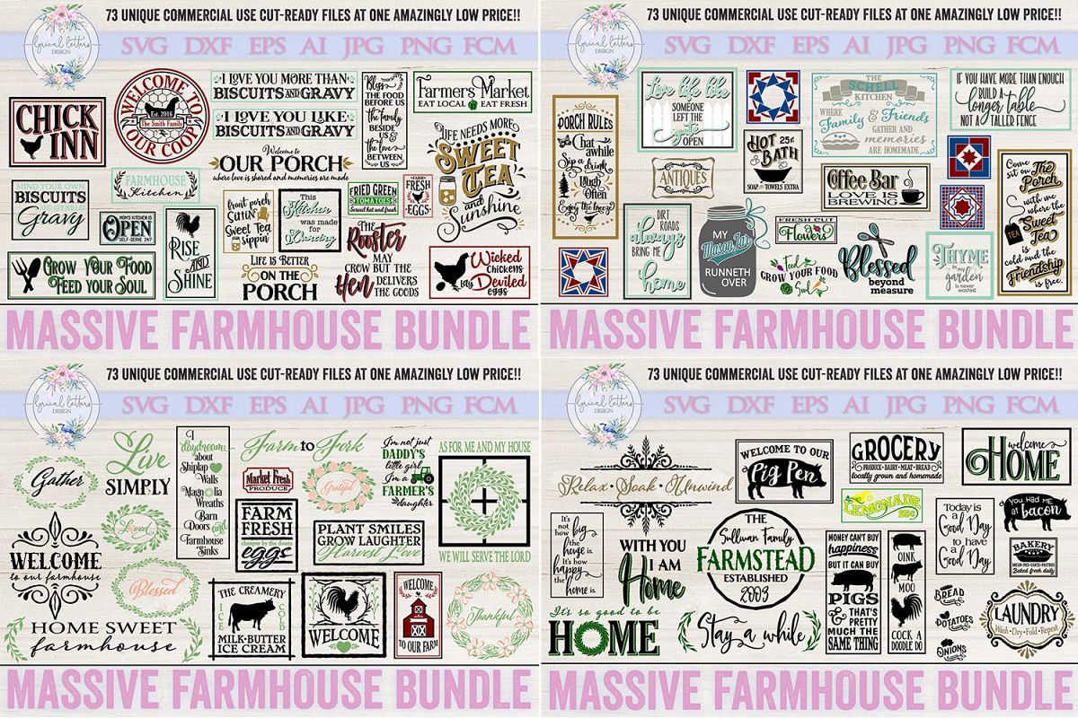 Farmhouse Bundle of 73 SVG DXF FCM AI EPS JPG and PNG Files example image