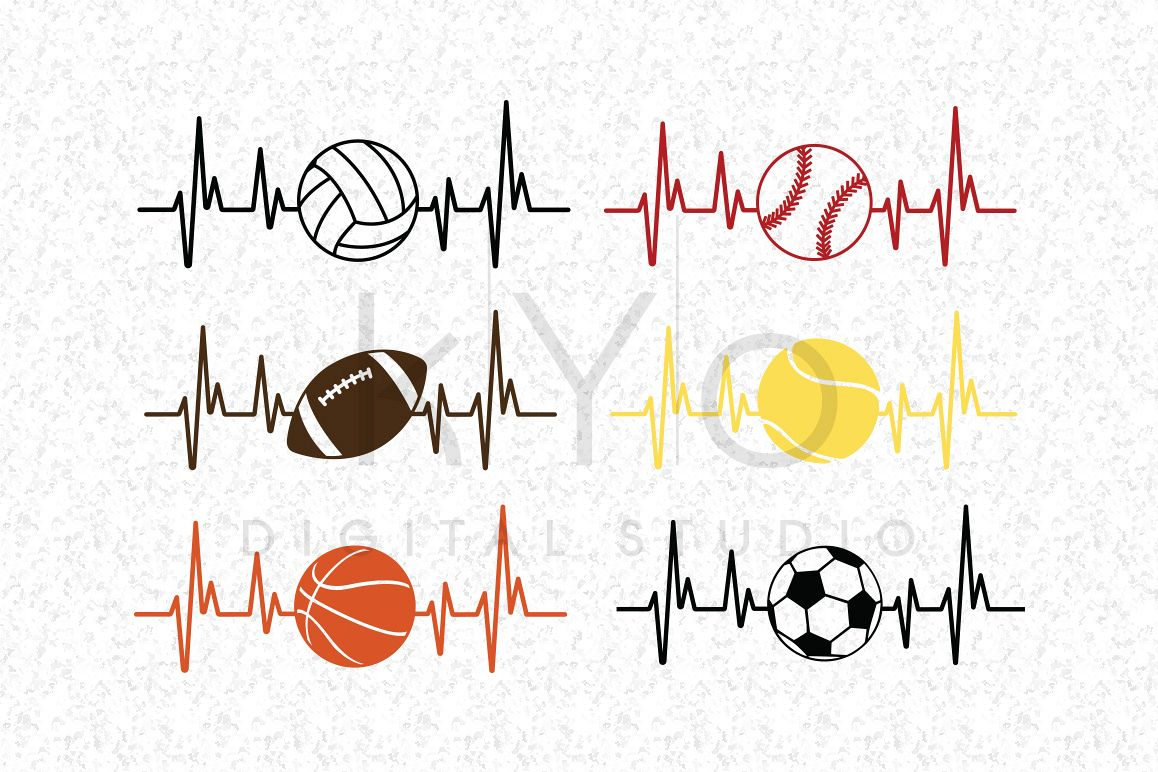 Baseball Football Soccer Basketball Volleyball Tennis Heart Beat SVG DXF PNG EPS files for Cricut and Silhouette  example image
