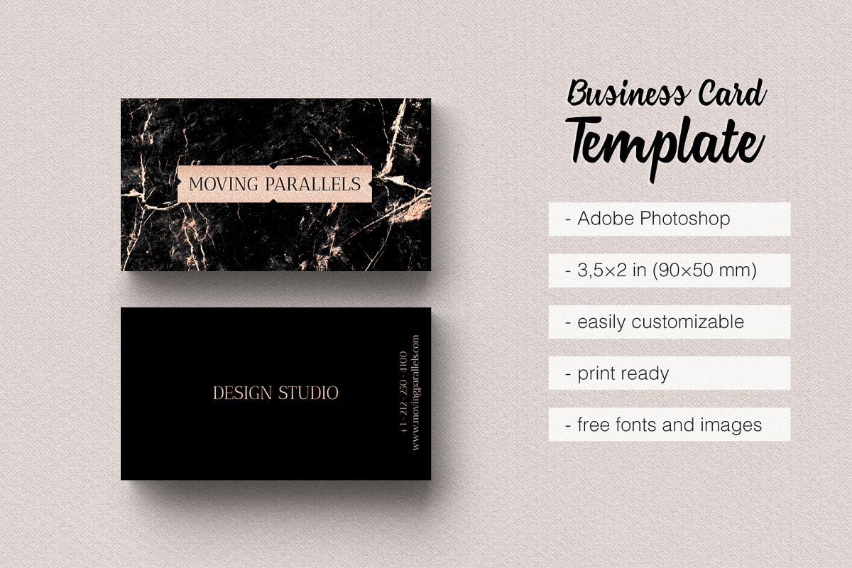 Rose Gold Foil Marble Business Card by | Design Bundles