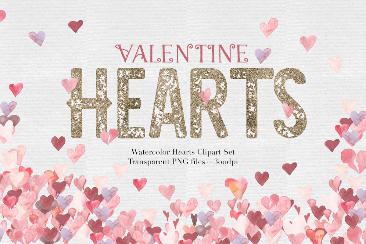 Watercolor Valentine Hearts example image